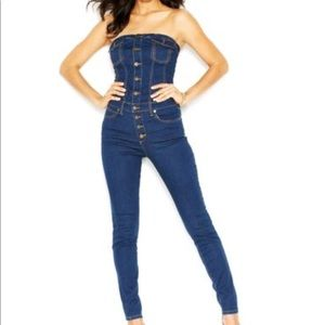 Guess tube strapless denim overall jumpsuit